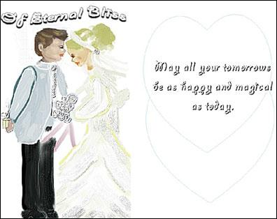 anna's handmade wedding card front view