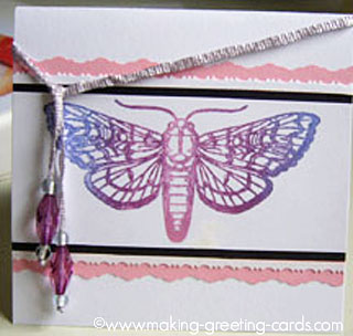 butterfly rubber stamped card