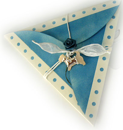 The Birthday Card Is Inside Triangle Envelope Just A Simple Folded Cream Color With Words Happy Stamped In Matching Blue