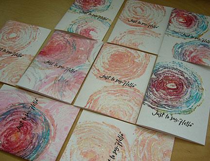 Stamped Cards Leaves Design