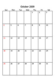 monthly planner 2009