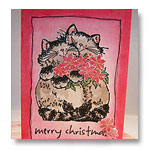 penny black cats with poinsettia christmas card
