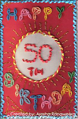 50th Birthday Cards Wishes Colourful Handmade Card