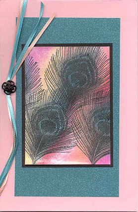 peacock feather card/Stamped Feather Card