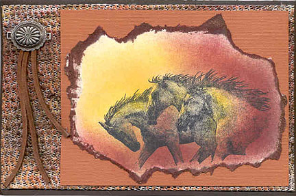 rubber stamped card/Stamped Horses Card