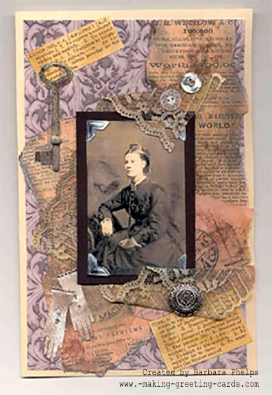 Victorian Collage Card/Mother's Day Card by Barbara Phelps
