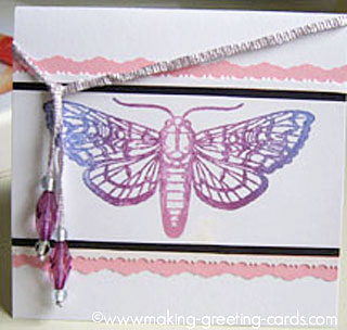 Butterfly Rubber Stamped Card with Beads Ribbon Bookmark