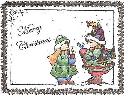 children caroling christmas postcard