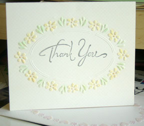 dry embossed handmade thank you card