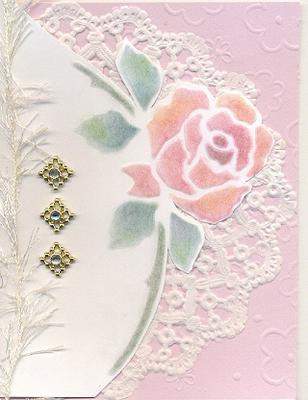 dry embossed rose greeting card