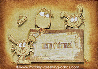 aged look merry christmas card/Rustic Christmas Card