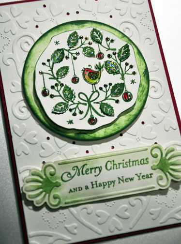 More Handmade Holiday Cards - green and a touch of red and orange shades