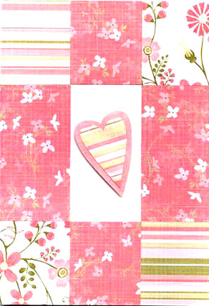 Pink Patchwork Heart Happy Valentines Day Card