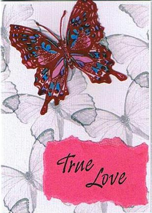 Butterfly True Love (2). Comments: pink card w/Meda's background,