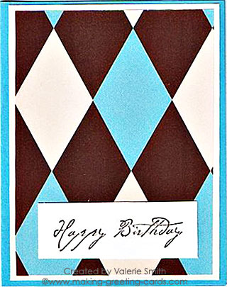 Simple happy birthday card with pattern paper and rubber stamp.