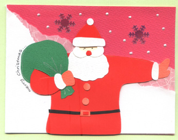 santa claus handmade christmas card