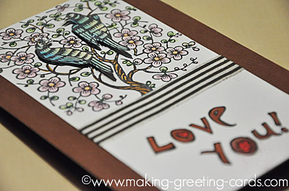 lovebirds greeting card/Oriental Love Birds on Cherry Blossom Tree