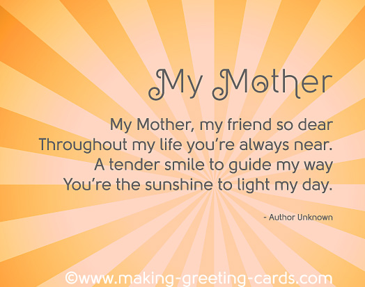 So Touching Mothers Day Poems – Birthday Card for My Mother