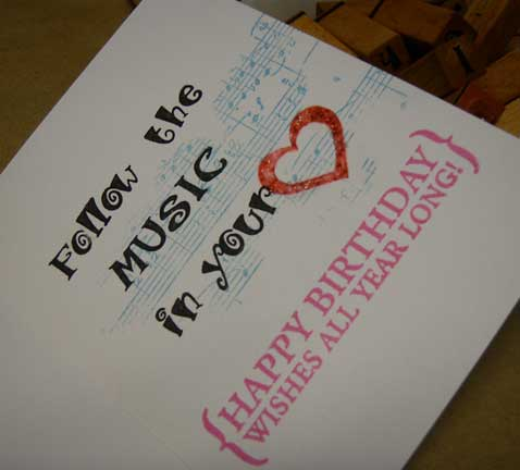 music greeting card/follow the music in your heart