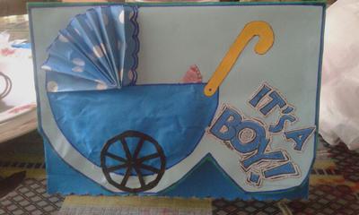 Baby Pram - Baby Boy Card