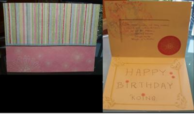 Birthday card using different papers and handwritten message