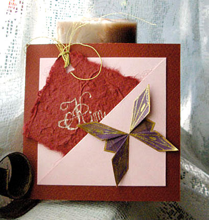butterfly on pink card