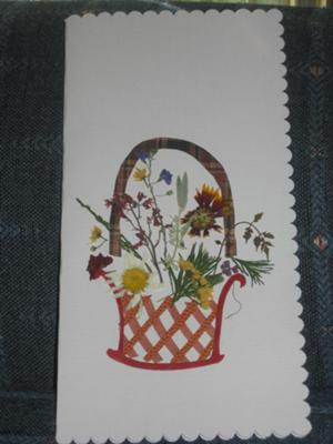 A basket of pressed flowers card