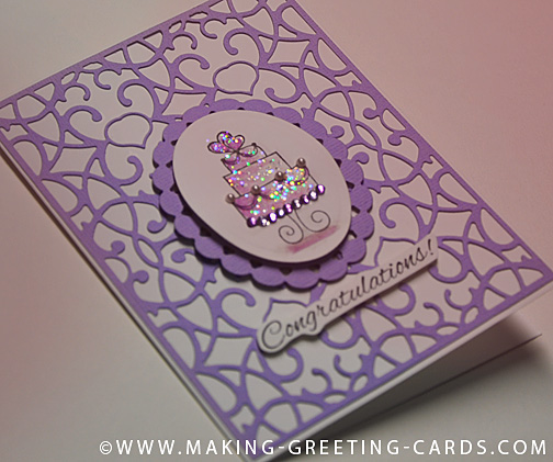 purple cake wedding card/Wedding Cake Card