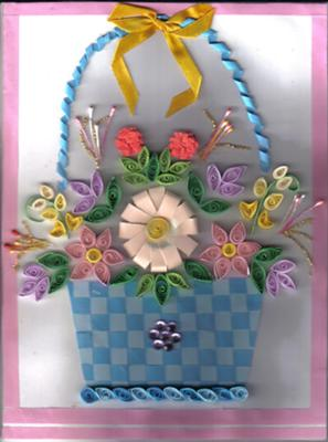 Quilled Flower Basket Birthday Card
