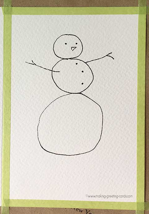 Snowman Coloring Card
