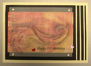 Handmade Happy 21st Birthday Card