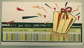 pop-up 21st birthday card