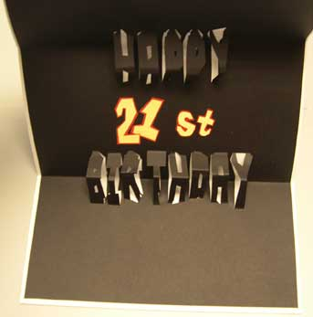 pop-up 21st birthday card