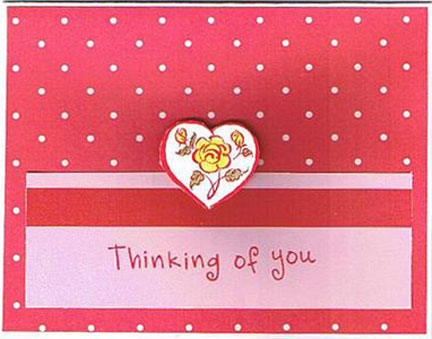 Handmade thinking of you cards by valerie smith cut out heart attached to card front with double sided tape for a 3d look red ribbon and rubber stamped message thinking of you make this a m4hsunfo