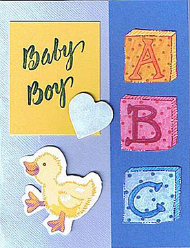 Handmade baby cards by valerie smith a great baby card for the a new born baby boy blue color theme with toy duckling and heart m4hsunfo Gallery