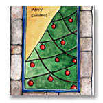 watercolored christmas tree card