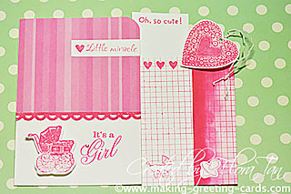 baby girl card with tags