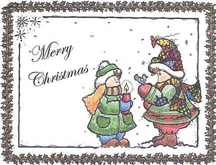 children caroling christmas postcard