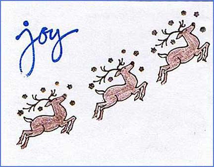 reindeers postcard