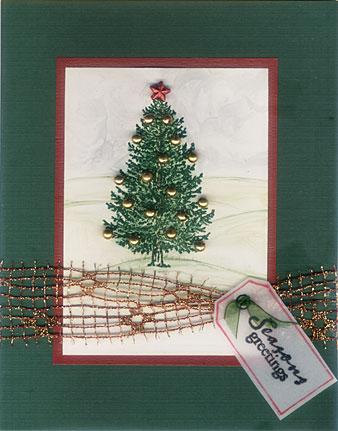 embossed christmas tree card/Christmas Tree Card