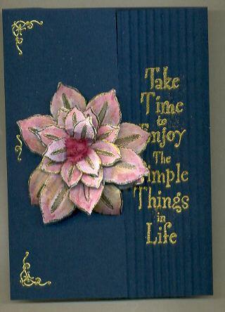 embossed cutout flower handmade card