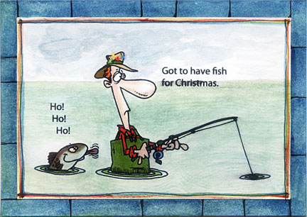 Fishing christmas cards for Fishing birthday cards
