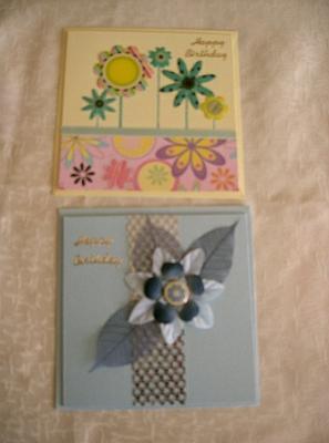 Blue Flowers Birthday Cards