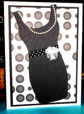 little black dress card/Black and White Little Black Dress