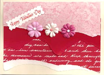 Happy Valentines Day Card Ideas - Paper flowers and tear paper technique