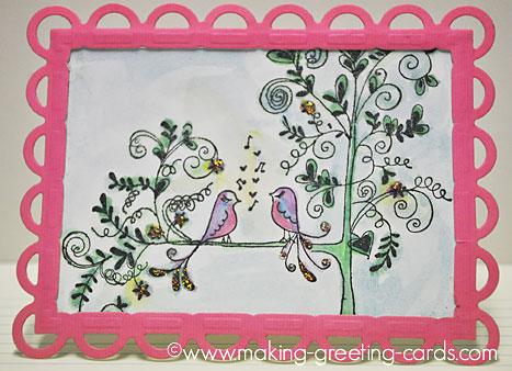 lovebirds greeting card/Singing Lovebirds On Tree