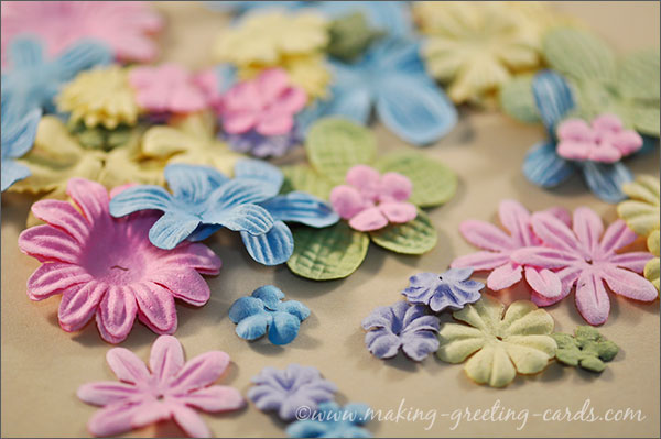 card making embellishments ; paper flowers