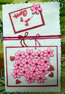 A Handmade Pink Flower Card by Heera!!