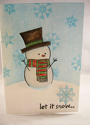 Snowman Christmas Greeting Card - Let It Snow!