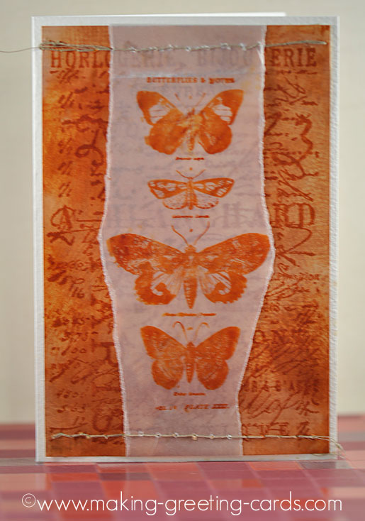 vintage butterfly card/Vintage Butterfly Card (Upright View)
